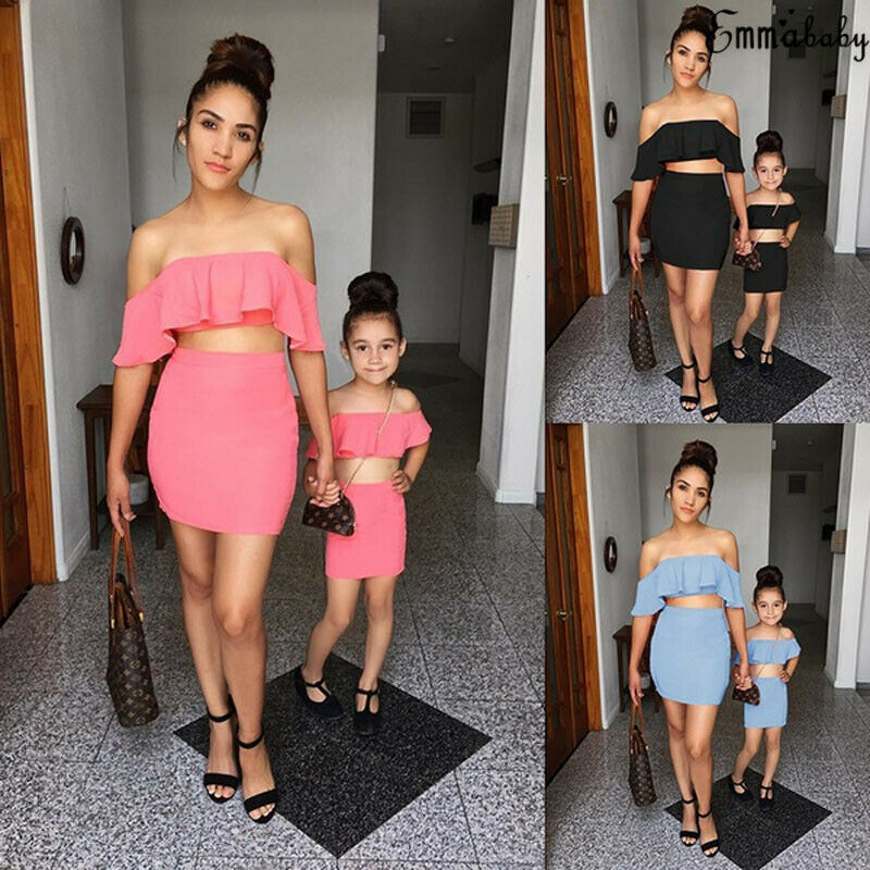 Summer Mom Daughter Family Matching Outfit Vest Tops Mesh Tutu Skirt Clothes Set