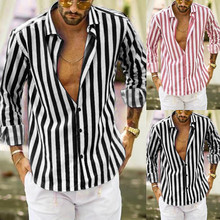 цена Men Fashio Vertical Striped Slim Fit Long Sleeve Casual Button Down Dress Shirts M0906