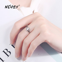 NEHZY 925 Sterling Silver New Woman Fashion Jewelry High Quality Retro Simple Hollow Black Smiley Open Ring Adjustable Size