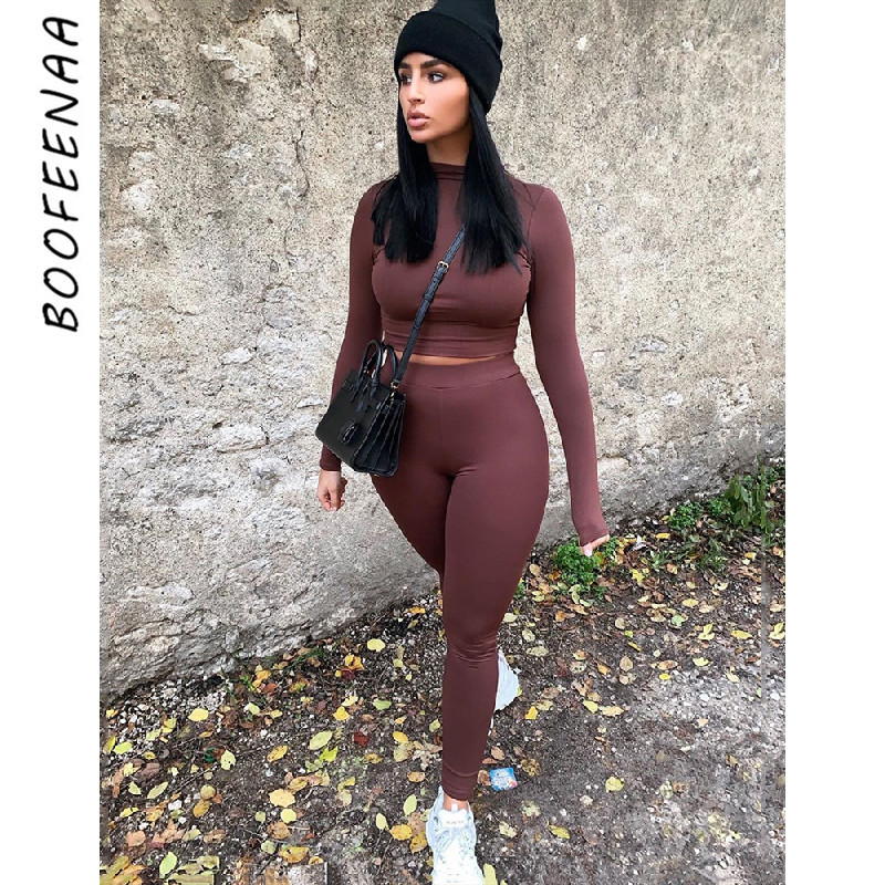 BOOFEENAA Sexy Two Piece Set Top And Pants Wholesale Clothing For Women Outfits Twinset Sports Tracksuit Loungewear C97-AF08
