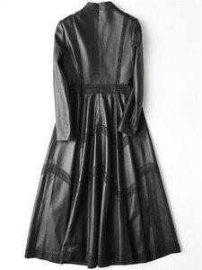 Image 2 - Ayunsue本革ジャケット秋のジャケットの女性シープスキンのコート女性ストリートロングトレンチコートヴィンテージウインドブレーカーMY4357