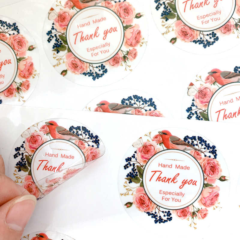 60pcs/lot Cute Flower Thank You Transparent Sealing Sticker DIY Multifunction Gift Label Sticker