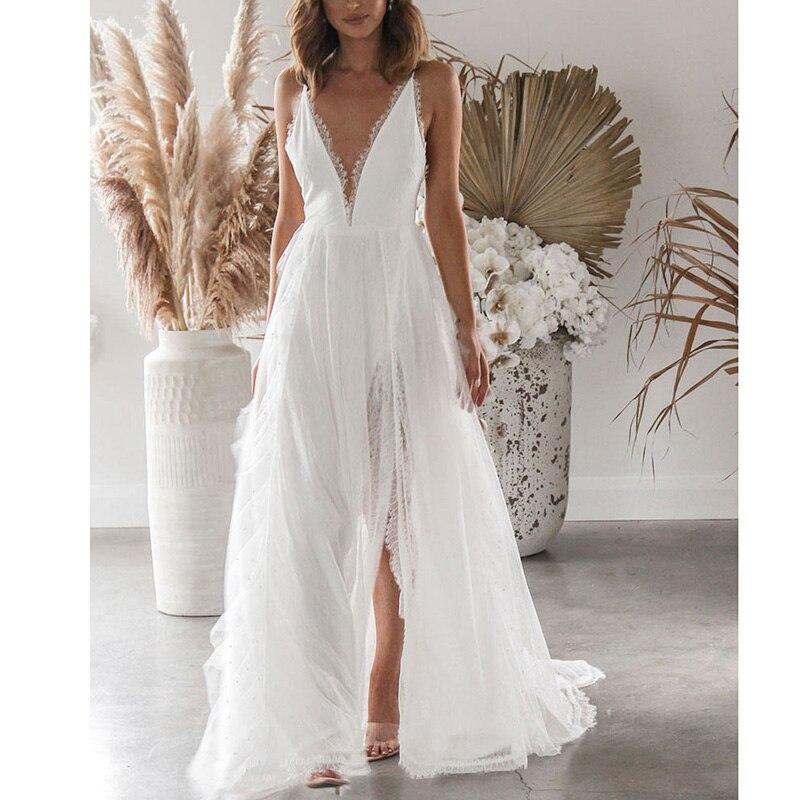 Ordifree 2020 Summer Women Long Beach Dress Sexy Transparent Spaghetti Strap Split White Lace Crochet Maxi Dress