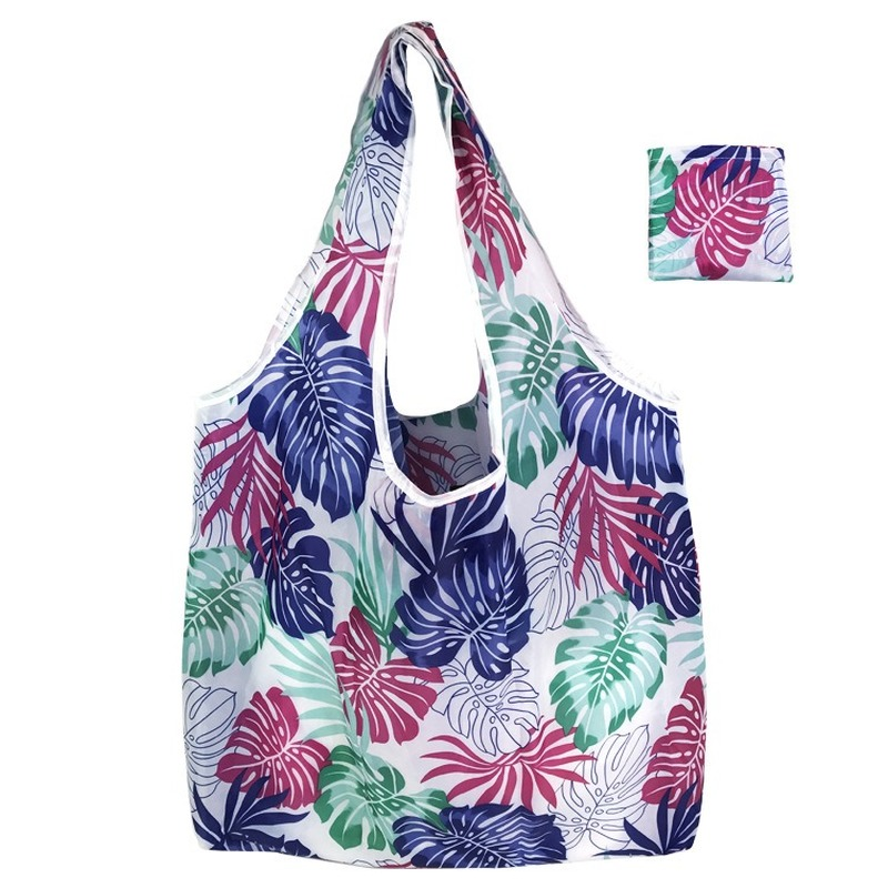 46*60*8cm Size Foldable Flower Print Tote Bag Environmental Protection Portable Reusable Shopping Bag Supermarket Shopping Bag