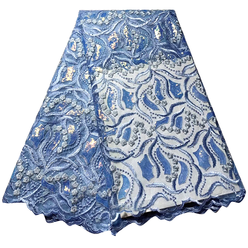 Latest French Sequin Blue Lace Fabric Guipure African Lace Fabric Swiss Voile For Wedding Party Floral Embroidery Nigerian Dress