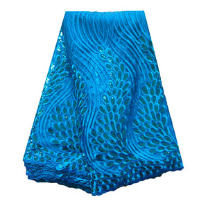 Image 5 - Latest emerald green african lace fabrics high quality sequence lace fabric 5 yards french net lace tulle fabric for women dress