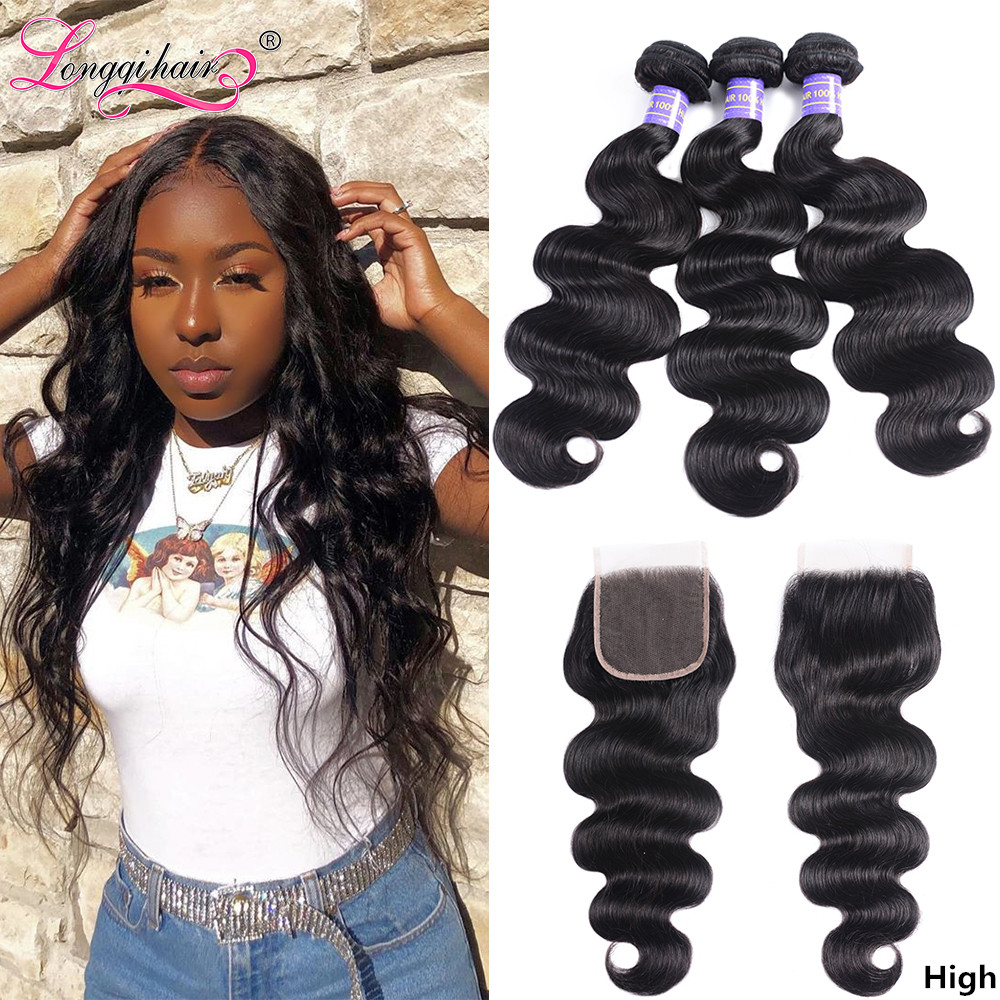 Longqi Hair Vendor Body Wave Peruvian Hair Bundles With Closure Remy Human Hair Extension 3 Bundles With Closure Free Shipping
