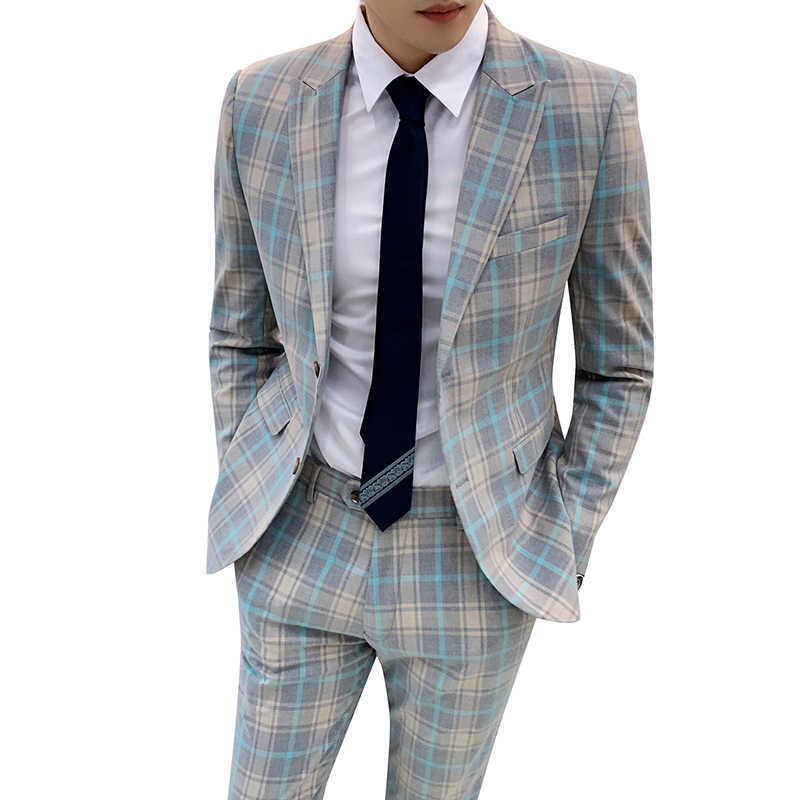 Дизайнерские новые смокинги для жениха Мужские костюмы Свадебные костюмы для мужчин 2019 клетчатые костюмы проверьте бизнес Traje de Boda мужские костюмы