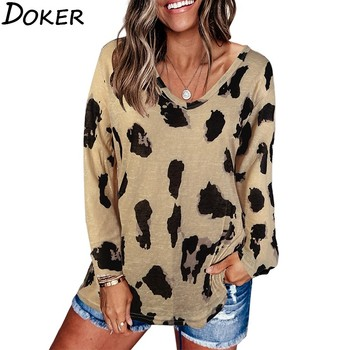 Autumn Leopard Print T Shirt Women Clothes V-neck Long Sleeve Plus Size Fashions Loose T-shirt Vintage Casual Tee Shirt Femme women s t shirt summer plus size tee basic t shirt women solid v neck short sleeve long casual women tops loose tee shirt femme