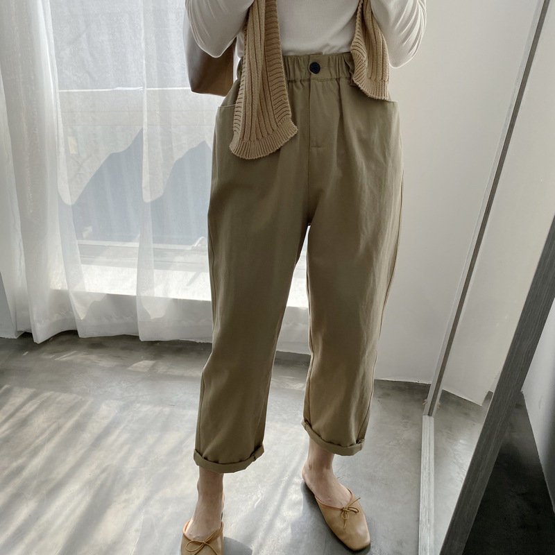 2020 Women Wide Leg Pants With Pocket Women High Waist  Straight Summer Ankle Length Pants Casual Pants Female Trousers