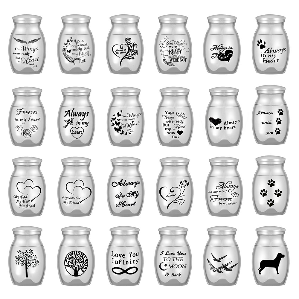 24 Styles Set of 3 Pcs Mini Urns For Human Ashes Cremation Keepsake Container Jar Metal Memorial Pet Ashes Holder Silver