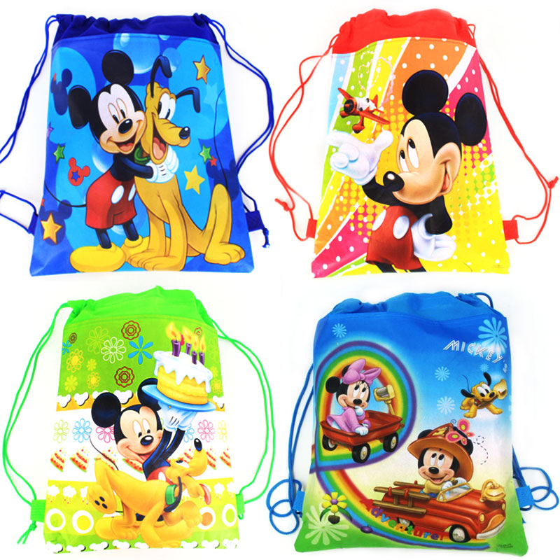 1Pcs Mickey Mouse Theme Boys Favors Birthday Party Non-Woven Fabric Backpack Drawstring Bags Kids Decoration Supplies