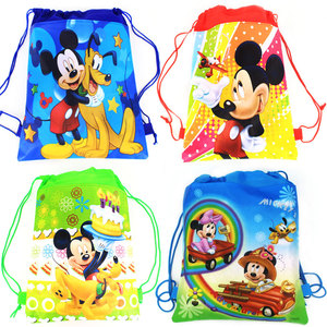1Pcs Mickey Mouse Theme Boys Favors Birthday Party Non-Woven Fabric Backpack Drawstring Bags Kids Decoration Supplies(China)