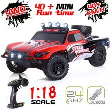 цена на Fashion 4WD 2.4GHz off-road rc car 1:18 scale high speed racing remote control car with 2 rechargeable batteries Toys  for kids