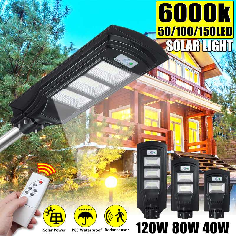 IP65 40W 80W 120W LED Solar Street Light Radar PIR Motion Sensor Wall Timing Lamp With Remote Control For Outdoor Garden Yard