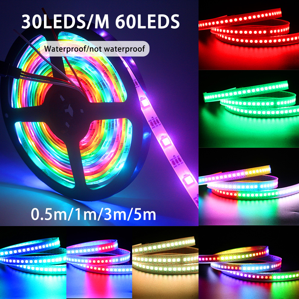 1M 2M 3M 5M DC 5V WS2812B RGB Led Strip Light Waterproof WS2812 Led Stripes Ribbon Tape Smart RGB Led Pixel Strips Led Lamp Tape image