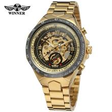 WINNER Brand Fashion Sport Male Gold Black Stainless Steel Automatic Luxury Military Mechan