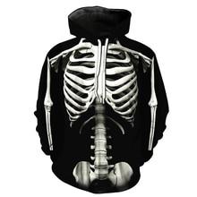 2020 Fashion 3D Hoodies Men Standing Skeleton 3D Print Streetwear Gothic Crew Neck Hoody Pullover Sweatshirt Tops streetwear crew neck bare father christmas print sweatshirt