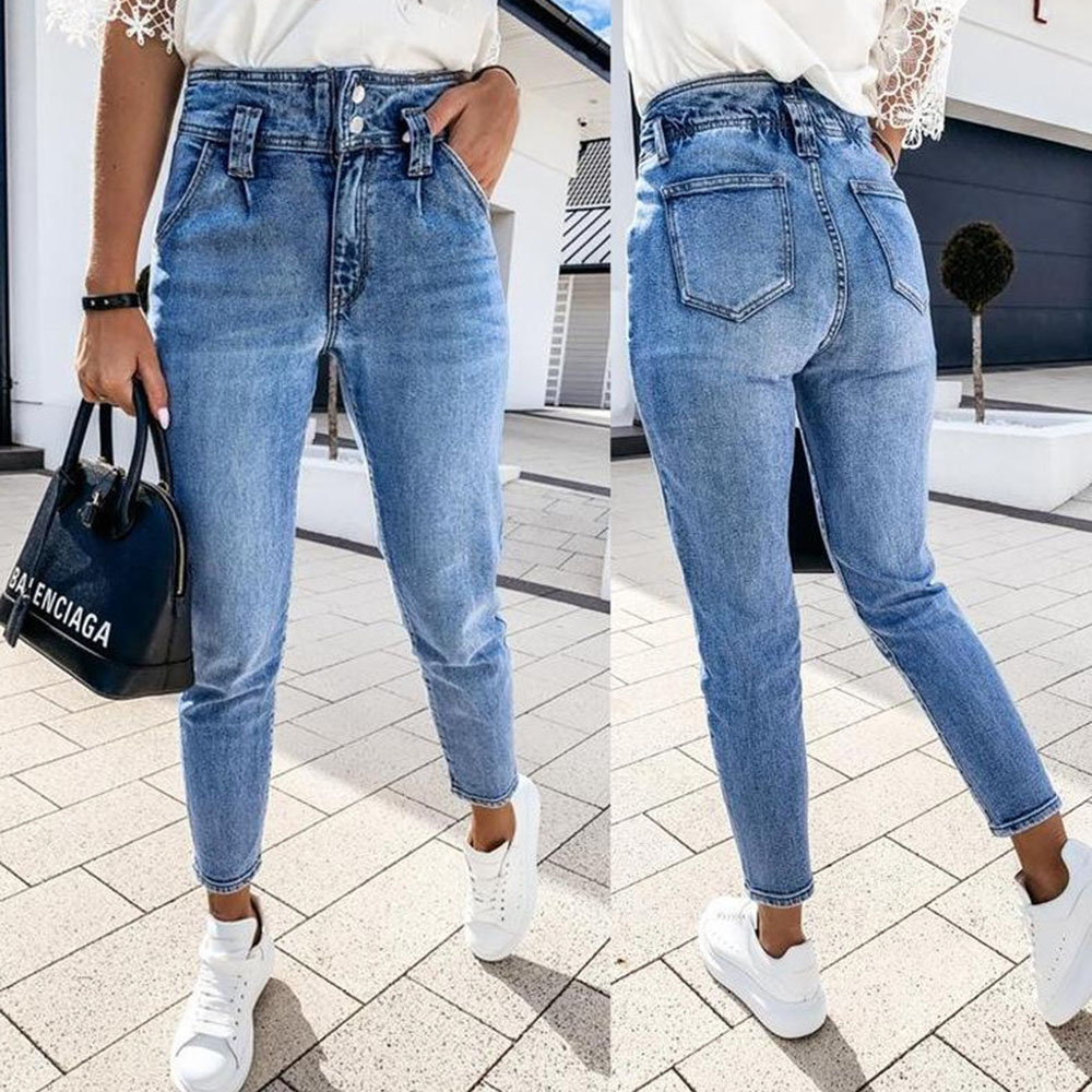 Vintage Distressed High Waist Skinny Jeans Women`S Blue Denim Pants Boyfriend Jean For Women Jeans Casual Pencil Pants Trousers