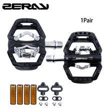 ZERAY pedales de bicicleta de montaña con doble plataforma, autosujeción, Compatible con estructura SPD, accesorios para bicicleta, ZP 109S