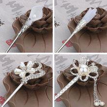 Vintage clásico princesa borlas mujeres disfraces diadema tiara joyería de Tiara palo de pelo cabeza pieza accesorios para el cabello de boda
