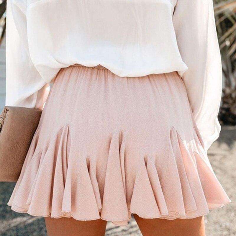 Ladies Chiffon Skirts Womens Summer High Waist A Line Mini Skirt 2019 Mini Sexy Skirts Female Spliced Woman Pleated School Skirt