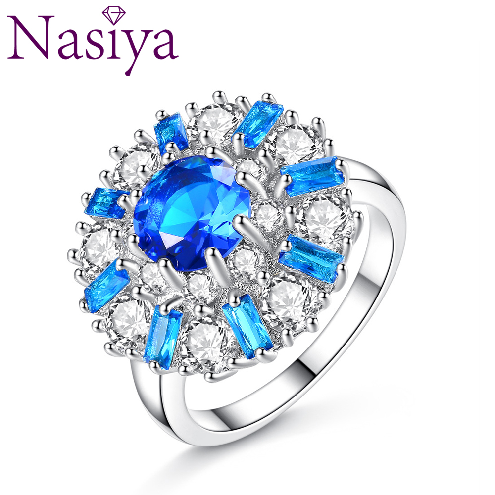 Luxury Fine Jewelry Blue White Zircon Flower-Shaped Color Zircon Ring Gemstone Ring For Women Party Anniversary