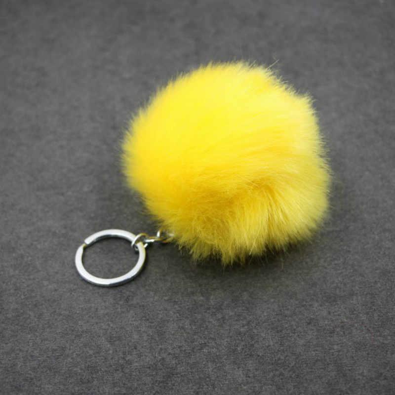 1pcs Amarelo Bola de Lã Bola de Pelúcia Keychain Simples Pingente de Pompom Pompom Animais Artificial Brinquedo Mulher Saco Carro Chaveiro Chaveiros