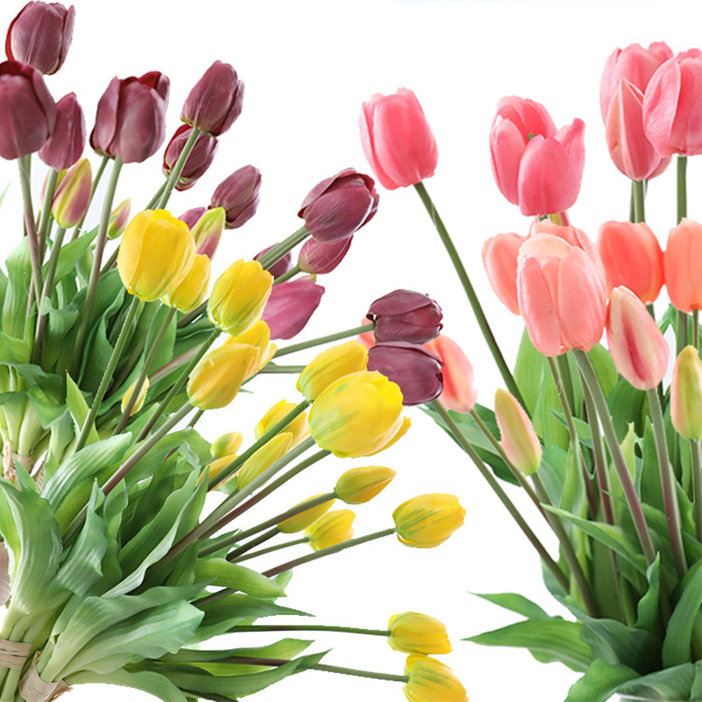 5Pcs bunch Artificial Tulips Flower For Home Wedding Decoration Bride Hand Flowers Real Touch Soft Silicone Tulip flores Decor 5