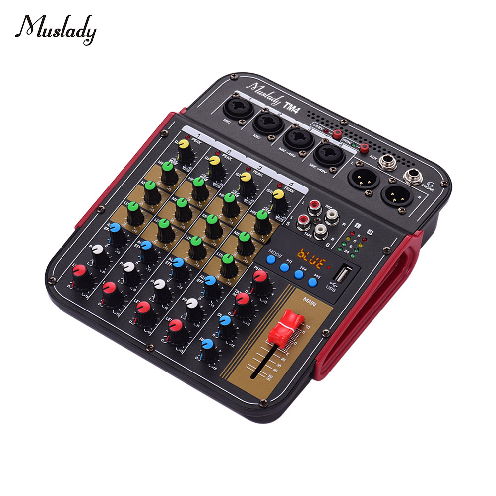 Muslady TM4 Digital 4-Channel Audio Mixer Mixing Console Built-in Phantom Power with Audio System for Studio Recording