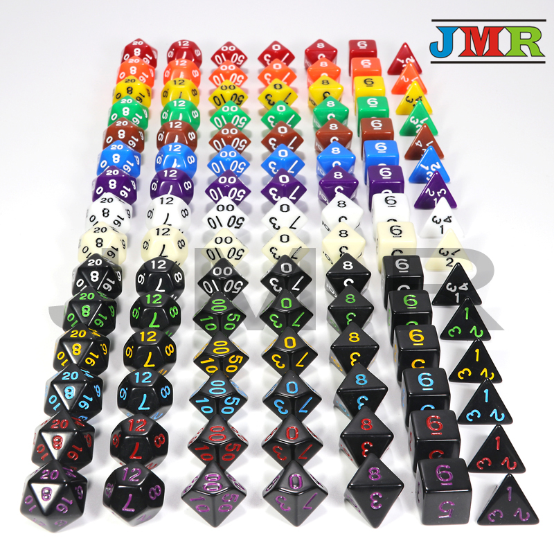 Hot Sale!! 15 Colors 7Pcs/Set Acrylic Opaque Portable Dice Games For Dungeons Dragons Opaque D4-D20 Multi Sides Dice Boardgame
