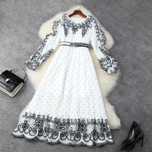 2021 new spring Gauze embroidered flowers girl dress princess Casual Lace Women Long sleeve on vacation cocktail party dresses