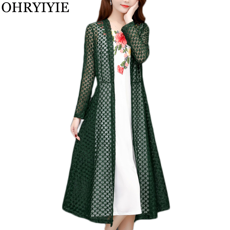 OHRYIYIE Plus Size 5XL Long Thin Cardigan Female Sweater Women Hollow Out Long Sleeve Cardigans Coat Spring Summer Knit Poncho