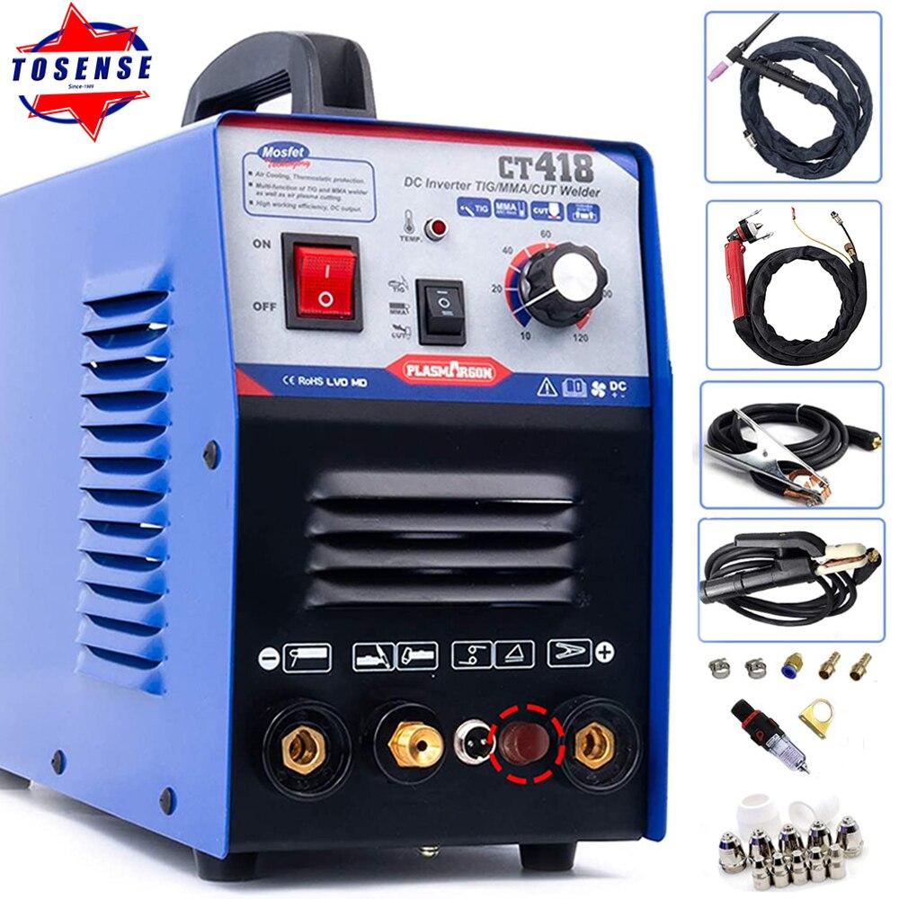 TOSENSE CT418P Welder Machine 120A IGBT DC Inverter Plasma Cutting Machine TIG CUT MMA Welding Machine 220V CNC Plasma Cutter
