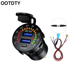12V 24V QC 3.0 Dual USB Car Charger Waterproof 18W USB Outlet Fast Charge with LED Voltmeter ON OFF Switch Power Cable
