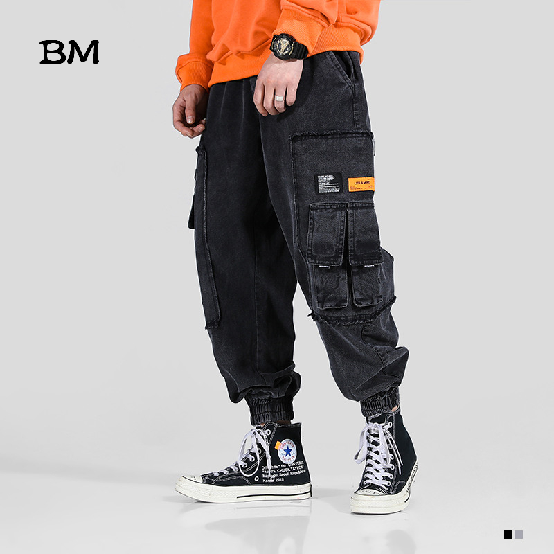 Streetwear Harlan Jeans Personality Pocket High Quality Joggers Fashions Hip Hop Black Jeans 2019 Kpop Korean Style Clothes