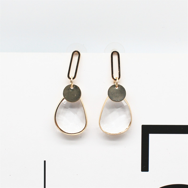 H3e601961688e459e94dd55412fe47fe98 - Korean New Design Fashion Jewelry Double Square Earrings Luxury Transparent Glass Crystal Party Earrings for women gift