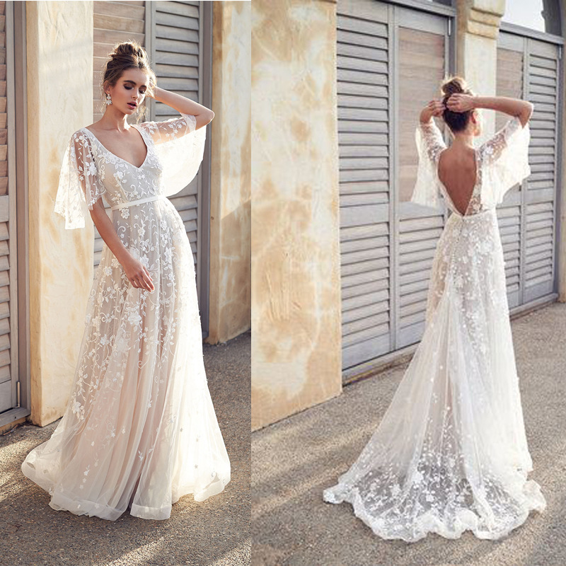 White Dress For Girls Lace V-Neck Sweep Train Evening Dress Vestido De Noche Wedding Party Bridesmaid Dress Robe De Soiree