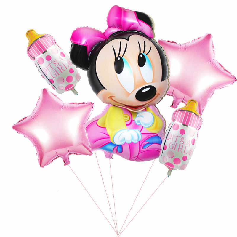 cartoon hat 5pcs / Happy Birthday Party Decorative Balloons cartoon Mouse 18-inch Asterisk Hernia Foil Balloon Baby hat