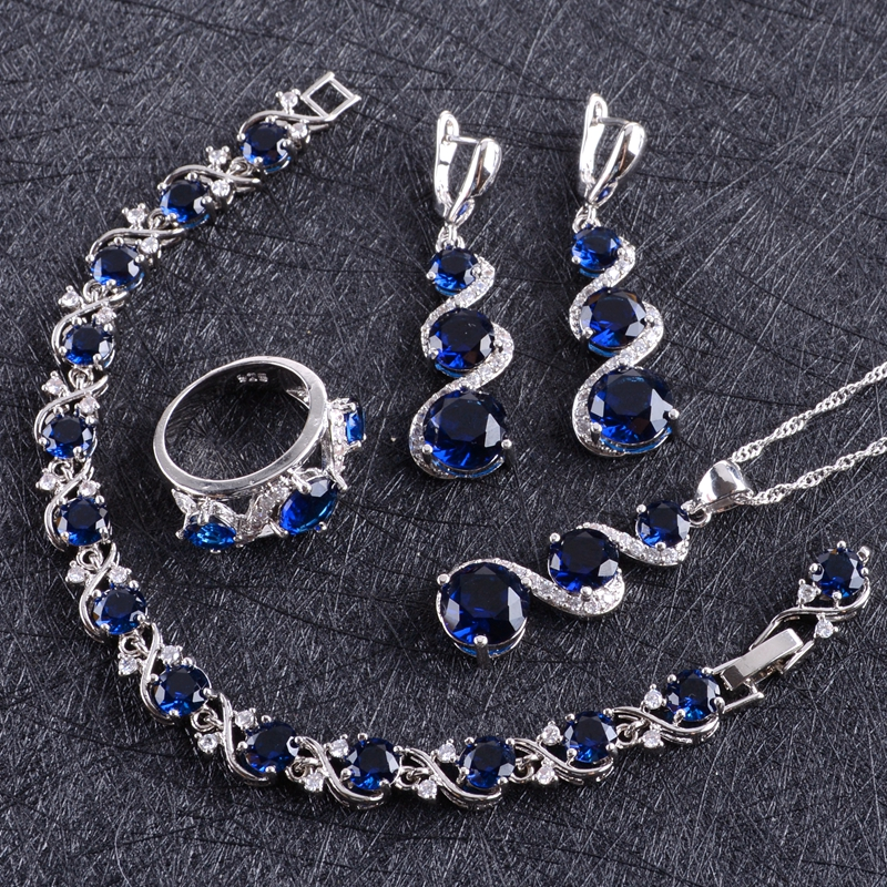 Blue Zircon Silver 925 Wedding Jewelry Sets Women Costume Pendant Necklace Rings Bracelets Earrings With Stones Set Gift Box