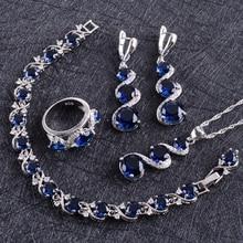 Blue Zircon Silver 925 Wedding Jewelry Sets Women Costume Pendant Necklace Rings Bracelets Earrings With Stones Set Gift Box