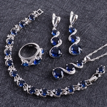 Blue Zircon Silver 925 งานแต่งงานชุดเครื่องประดับชุดจี้สร้อยคอแหวนกำไลต่างหูหินชุดของขวัญกล่อง