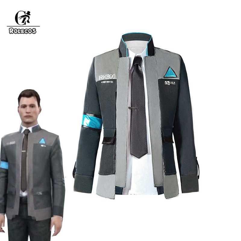 بدلة روليكوس ديترويت: تصبح زي تأثيري بشري كونور كوسبلاي للرجال سترة بيضاء قميص التعادل RK800 معطف زي مجموعة كاملة