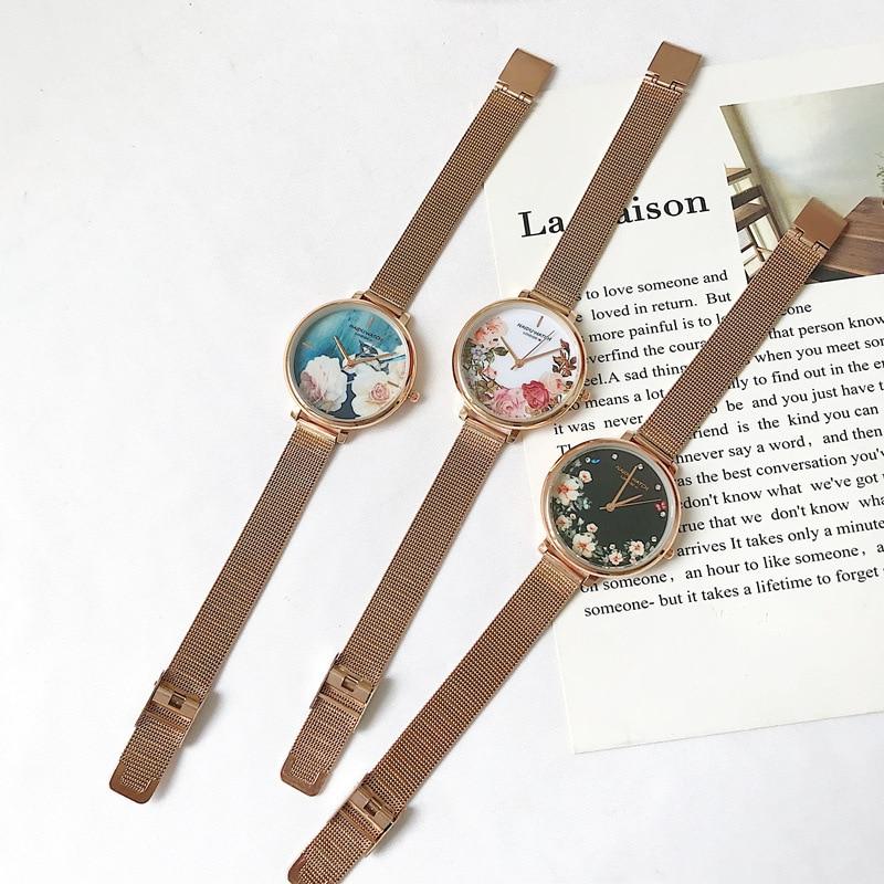 Luxury Fashion Rose Gold Steel Women Watches Elegant Flower Dial Ladies Watch 2019 High Quality Female Quartz Wristwatches