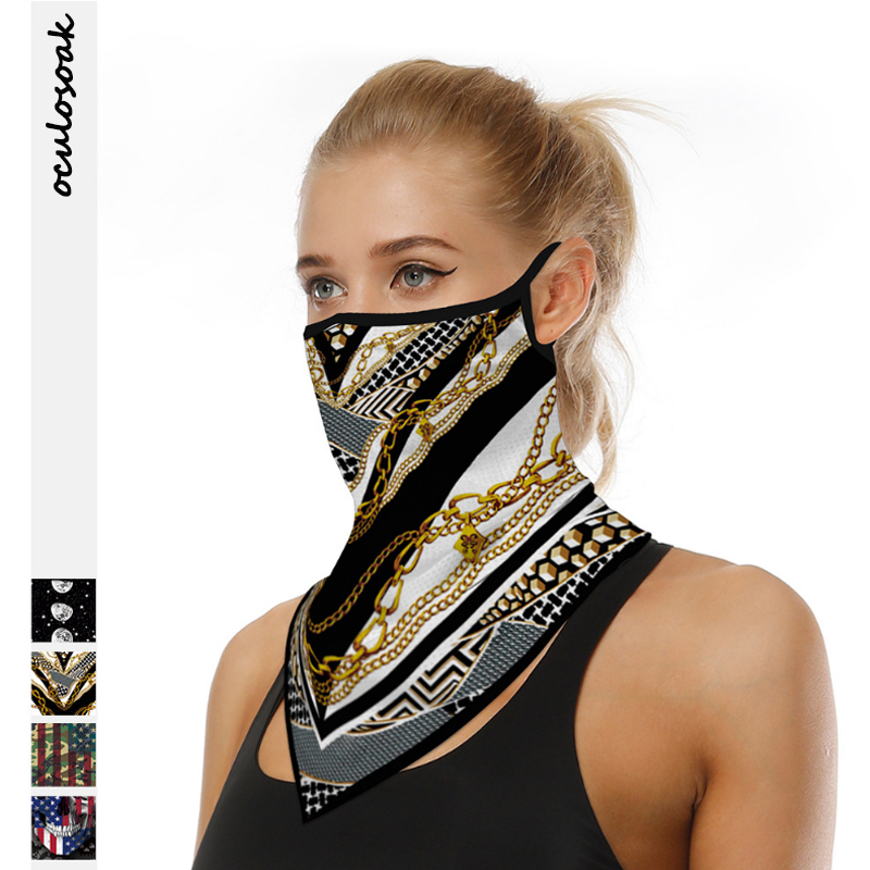 Chain Printing Digital Printing Outdoor Sports Riding Triangle Scarf Multi-function Head Scarf