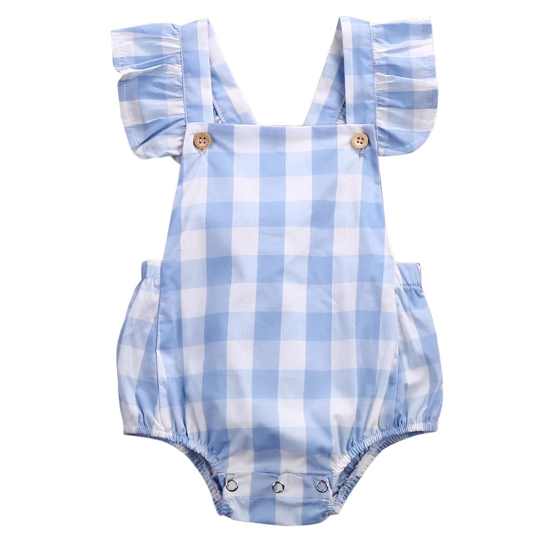 Fashion 2019 Newborn Baby Girls Cotton Plaid Rufflles Romper Clothes Grid Jumpsuit Blue Gap
