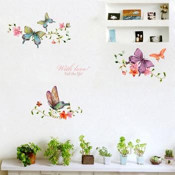 Butterfly Flower Vine Wall Stickers Living Room Showcase Door Home Decoration Mural Art Decals Background Butterflies Stickers