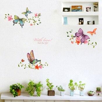 Flor y mariposa de vid pegatinas de pared de salón, escaparate puerta casa decoración arte Mural calcomanías Fondo mariposas pegatinas