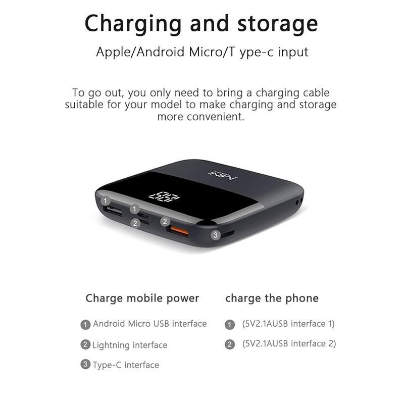 10000mAh Mini Portable Power Bank With Front Display For iPhone Models 5