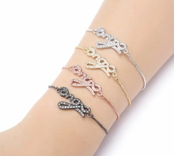gold silver Chain bracelet micro pave cz rope Cubic Zirconia bracelet adjusted Macrame uit4 love Bracelet Bangle Jewelry image